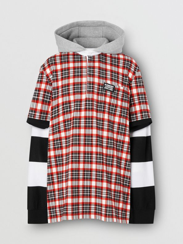 Check and Striped Cotton Reconstructed Rugby Shirt in Bright Red