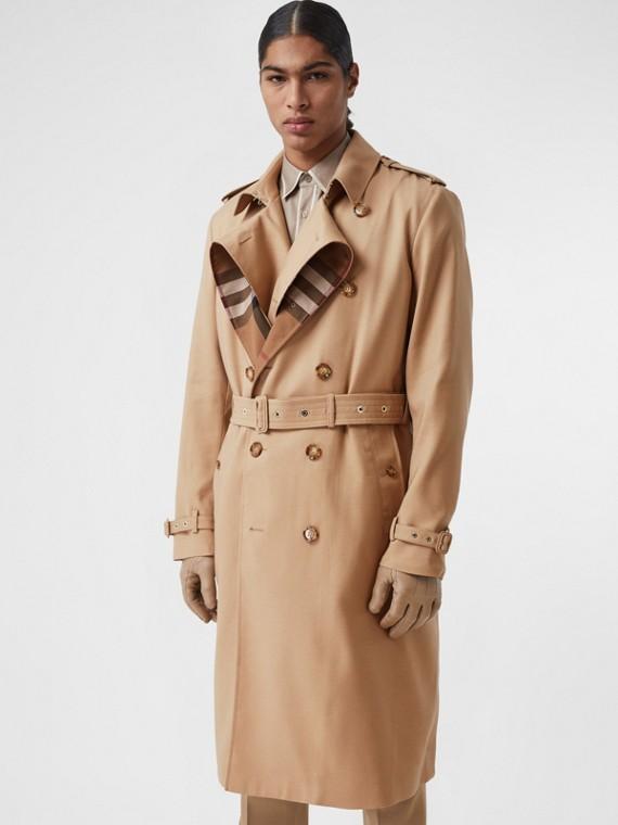 Trench coat in lana e seta con dettaglio ripiegabile con motivo House check (Biscotto)