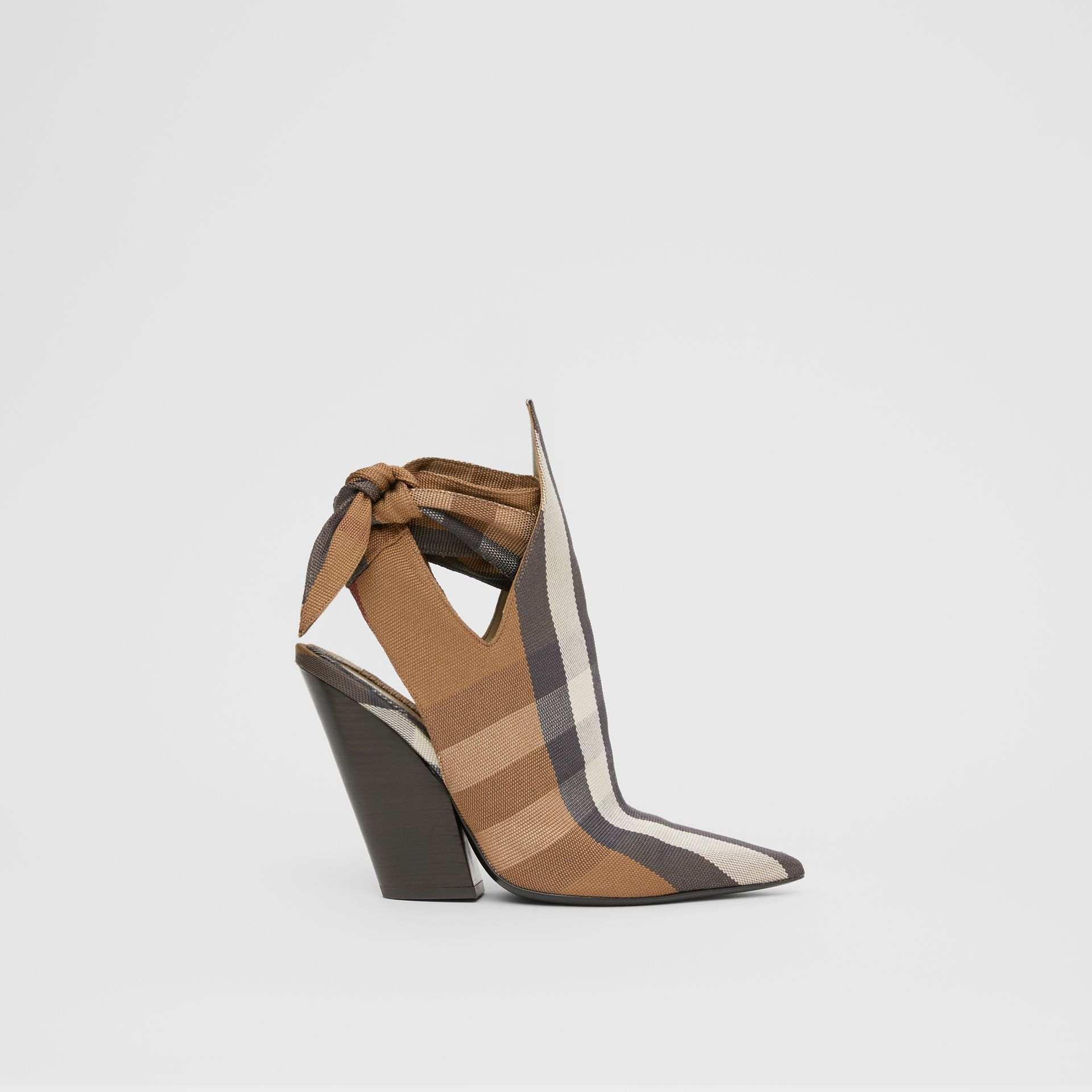 Tie Detail Check Technical Cotton Point-toe Mules in Birch Brown - Women | Burberry - gallery image 5