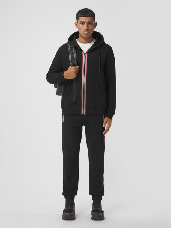 Icon Stripe Detail Cotton Jogging Pants in Black