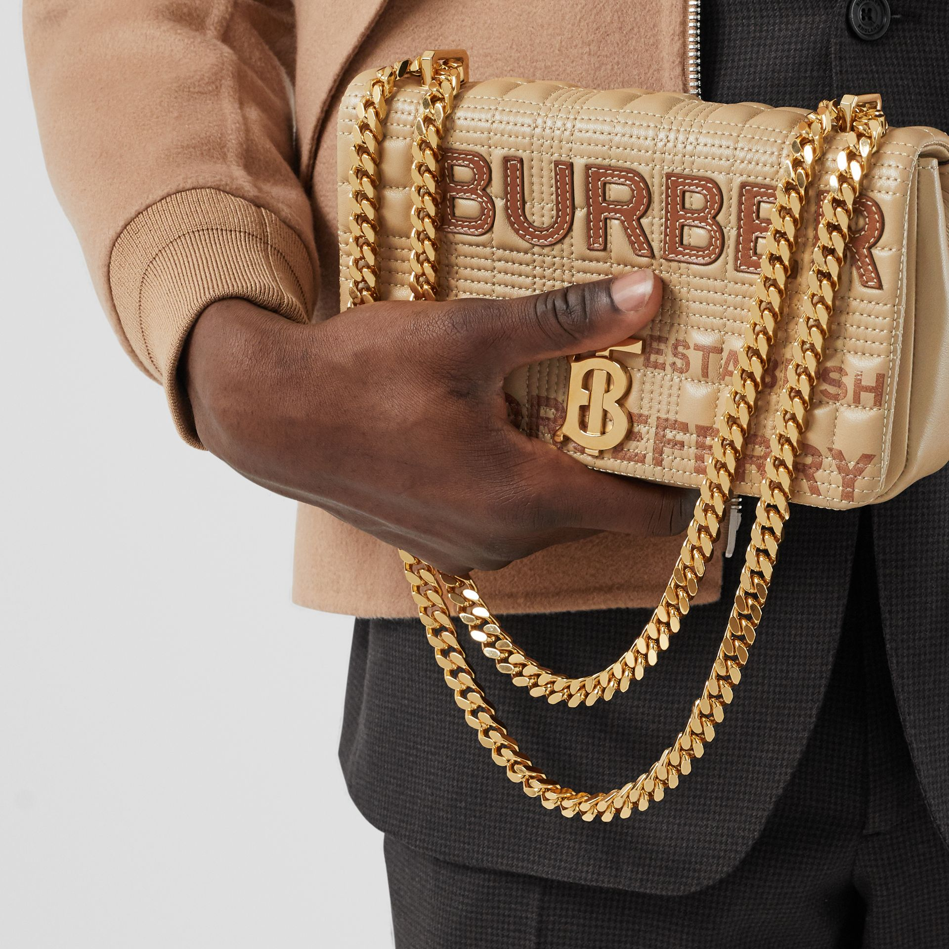 Small Quilted Horseferry Print Lambskin Lola Bag in Honey | Burberry - gallery image 2