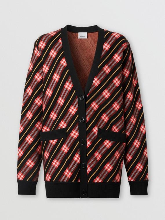 Stripe Merino Wool Blend Cardigan in Bright Red