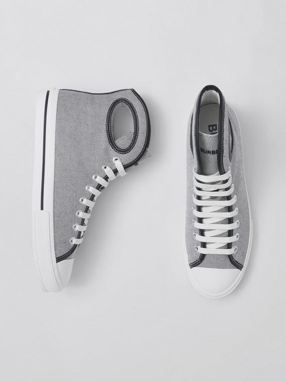 Porthole Detail Canvas High-top Sneakers in Black/white