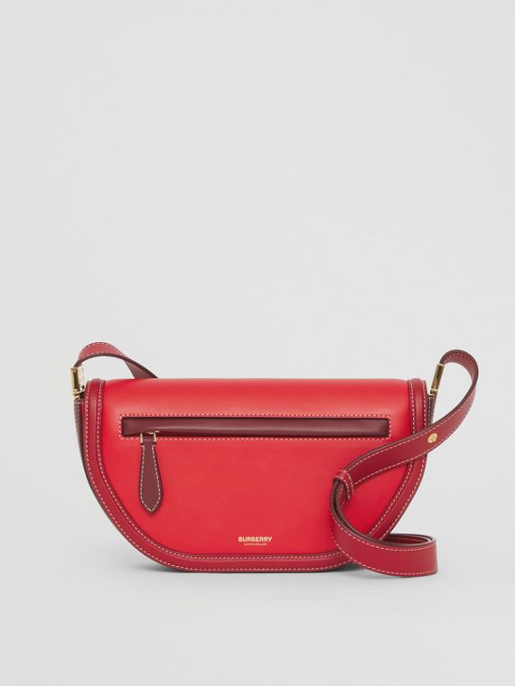 Small Colour Block Leather Olympia Bag in Bright Red/garnet