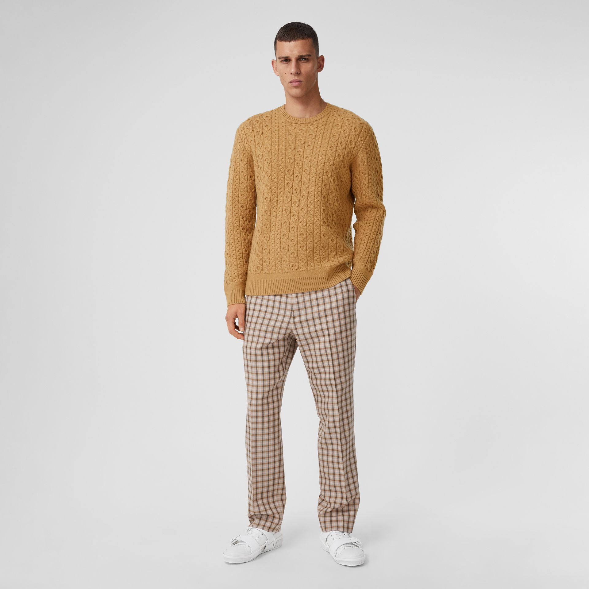 Cable Knit Wool Cashmere Sweater in Camel - Men | Burberry - gallery image 4