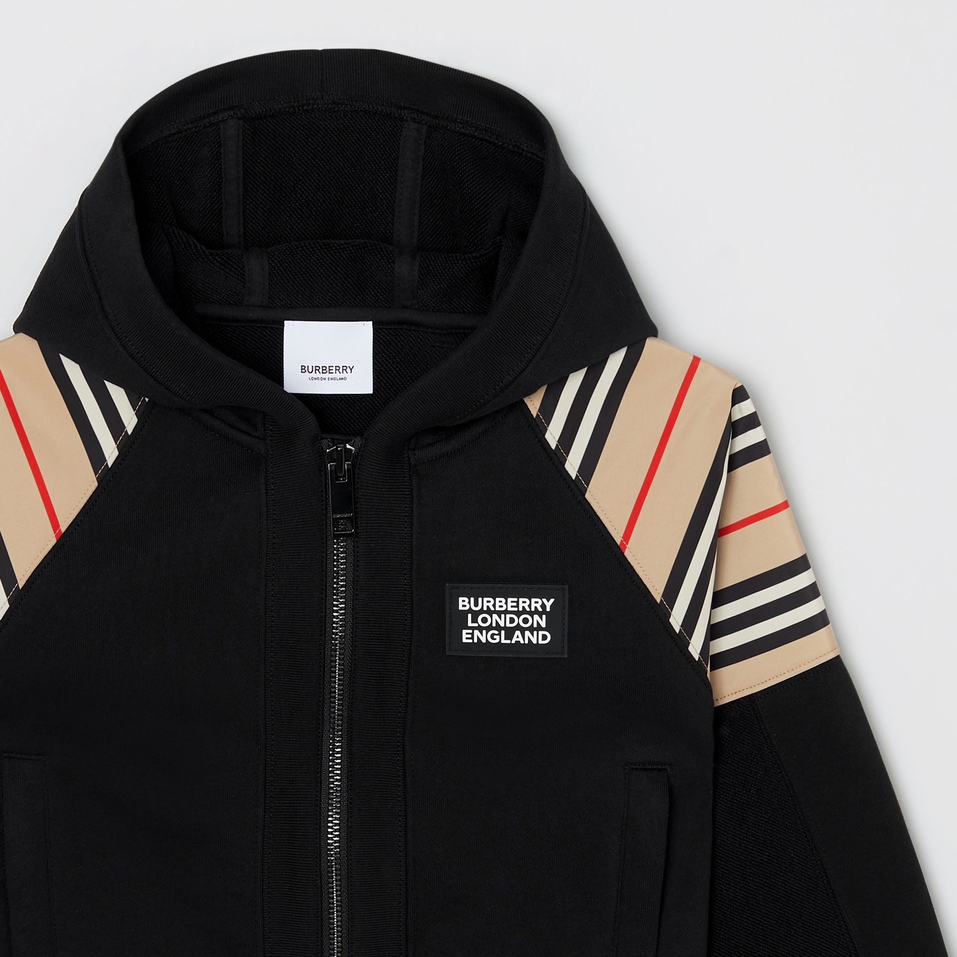 Icon Stripe Panel Cotton Hooded Top in Black | Burberry United Kingdom - gallery image 3