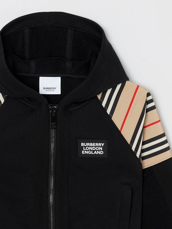 Icon Stripe Panel Cotton Hooded Top in Black | Burberry United Kingdom - cell image 3