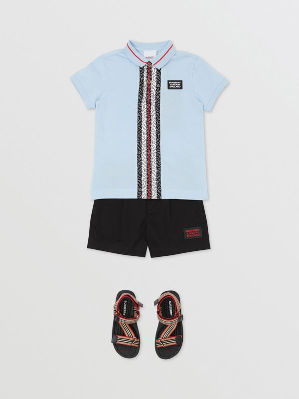 Monogram Stripe Print Cotton Piqué Polo Shirt in Pale Blue   Burberry Hong Kong S.A.R - cell image 2
