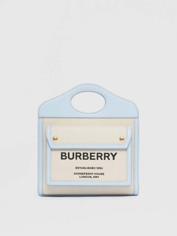 Bolso Pocket mini de dos tonos en lona y piel (Natural/azul Pálido)