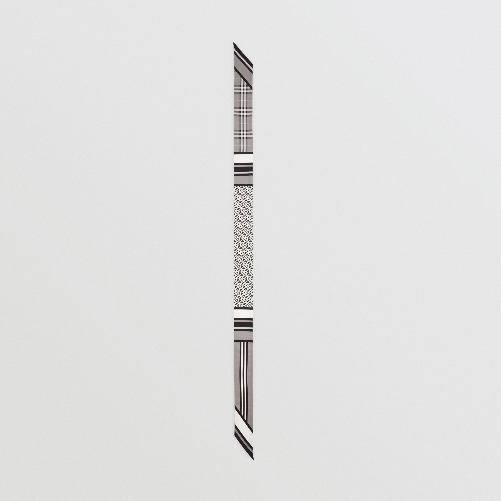 Montage Print Silk Skinny Scarf in Monochrome | Burberry - gallery image 4