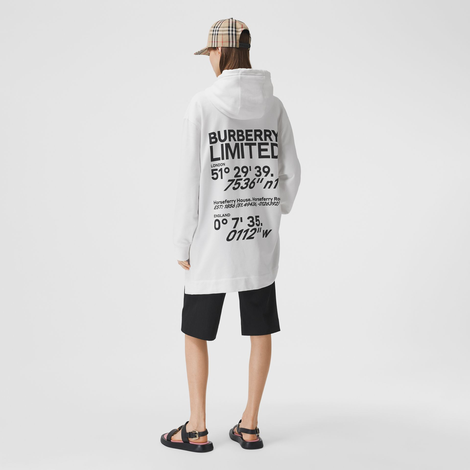 Coordinates Print Cotton Oversized Hoodie in White - Women | Burberry - gallery image 0