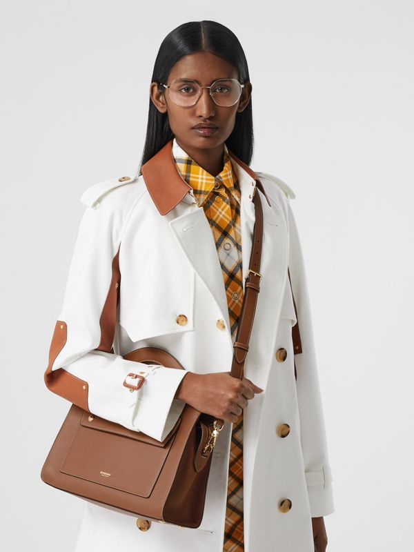 Small Topstitched Leather Pocket Tote in Malt Brown - Women | Burberry - cell image 2