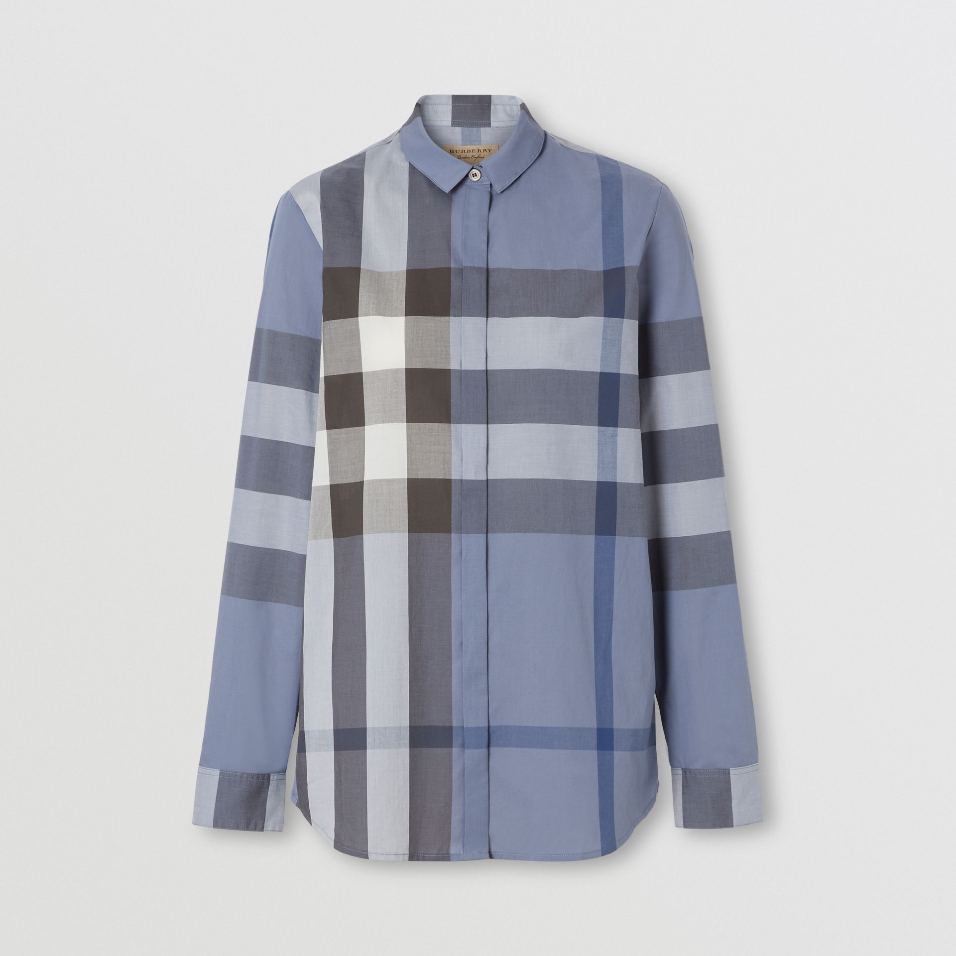 Check Cotton Voile Shirt in Pebble Blue - Women | Burberry - gallery image 0