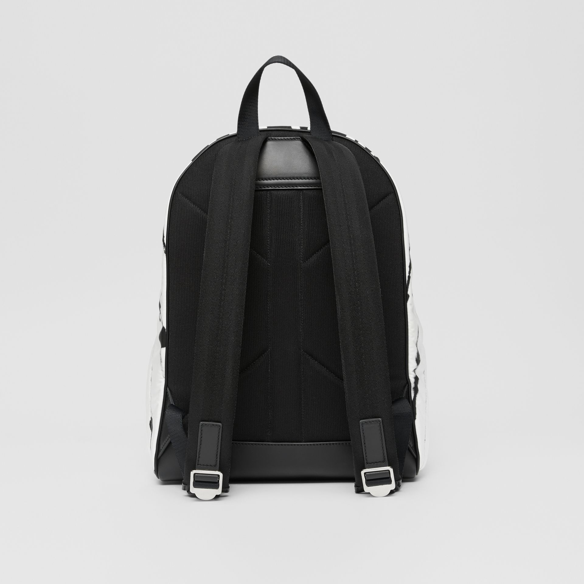 Watercolour Print ECONYL® Backpack in Black/white | Burberry - gallery image 7