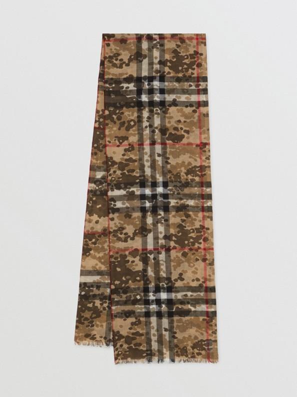 Lightweight Camouflage Check Wool Silk Scarf