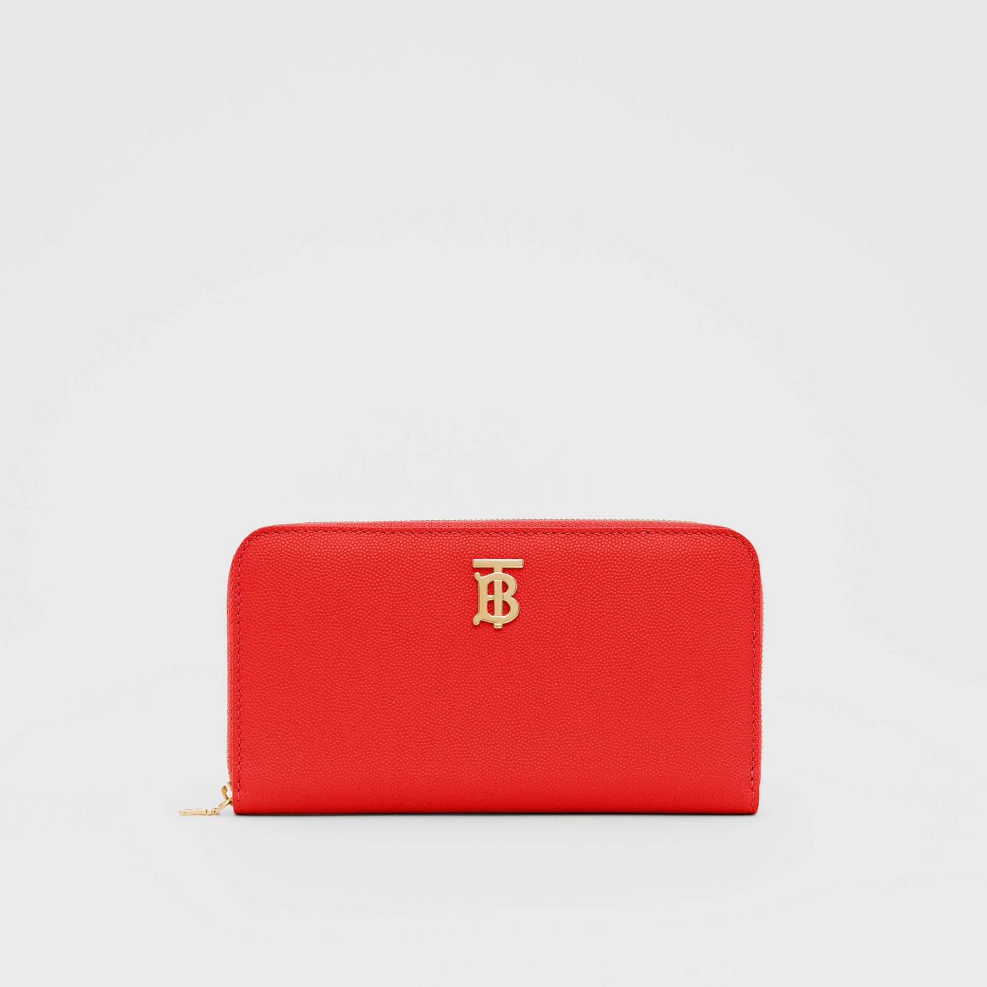 Monogram Motif Grainy Leather Ziparound Wallet in Bright Red - Women | Burberry - gallery image 0