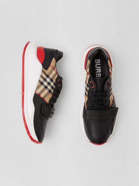 Leather and Vintage Check Cotton Sneakers in Black/archive Beige