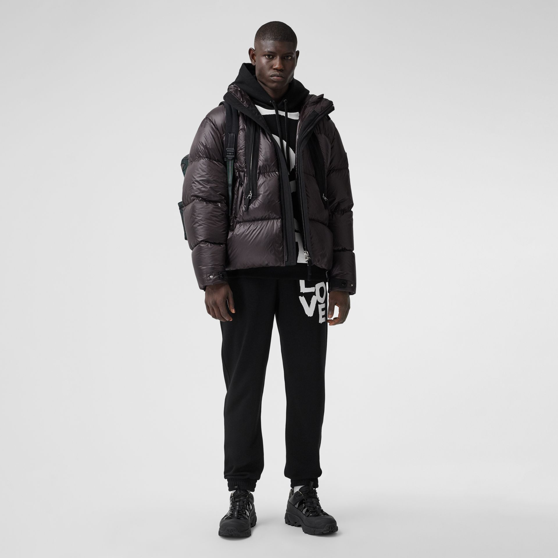 Packaway Hood Zip Detail Puffer Jacket in Deep Brown - Men | Burberry - gallery image 0