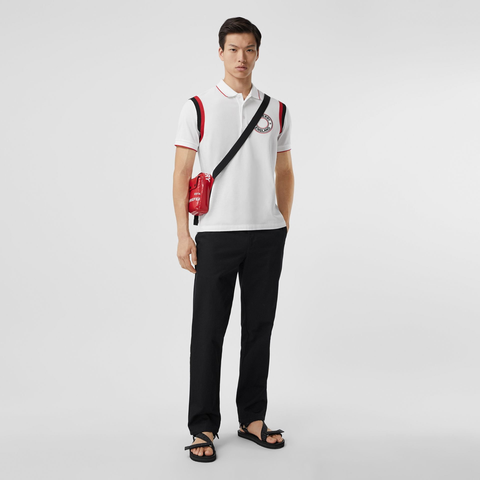 Logo Graphic Appliqué Cotton Piqué Polo Shirt in White - Men | Burberry Canada - gallery image 4
