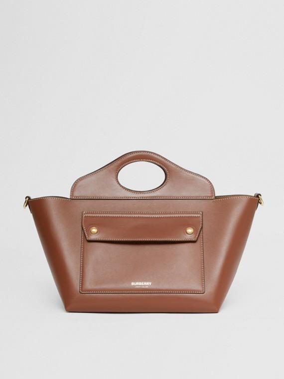 Mini Leather Soft Pocket Tote in Tan
