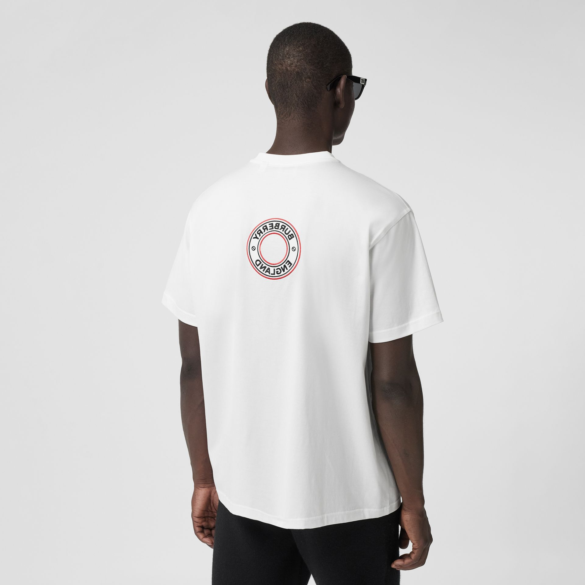 Logo Graphic Appliqué Cotton Oversized T-shirt in White - Men | Burberry - gallery image 2