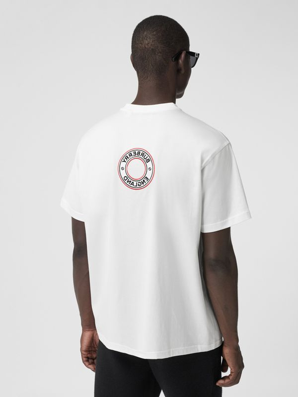 Logo Graphic Appliqué Cotton Oversized T-shirt in White - Men | Burberry - cell image 2