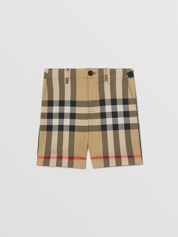 Check Stretch Cotton Tailored Shorts in Archive Beige