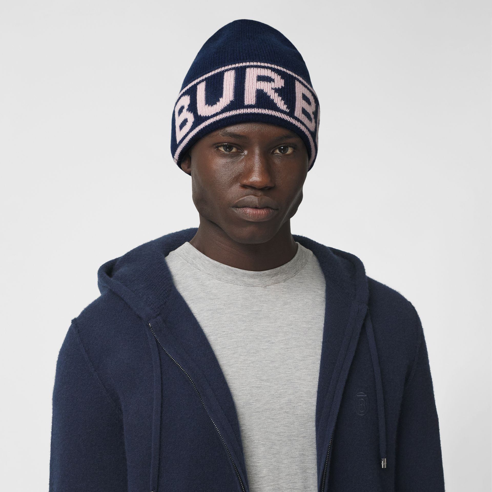 Logo Intarsia Cashmere Beanie in Navy | Burberry Canada - gallery image 3