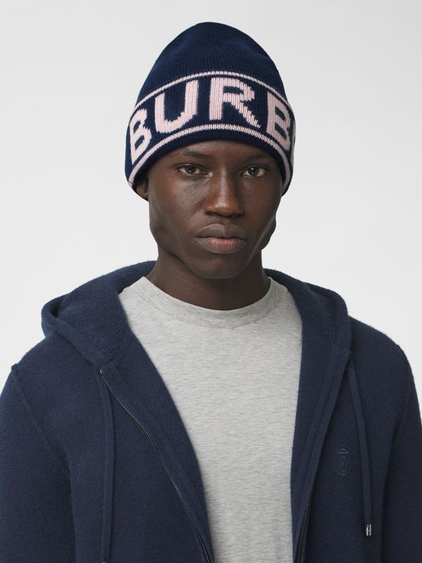 Logo Intarsia Cashmere Beanie in Navy | Burberry - cell image 3