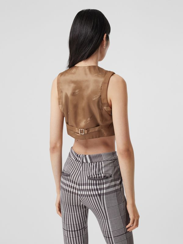 Check Technical Cotton Cropped Waistcoat in Birch Brown - Women | Burberry - cell image 2