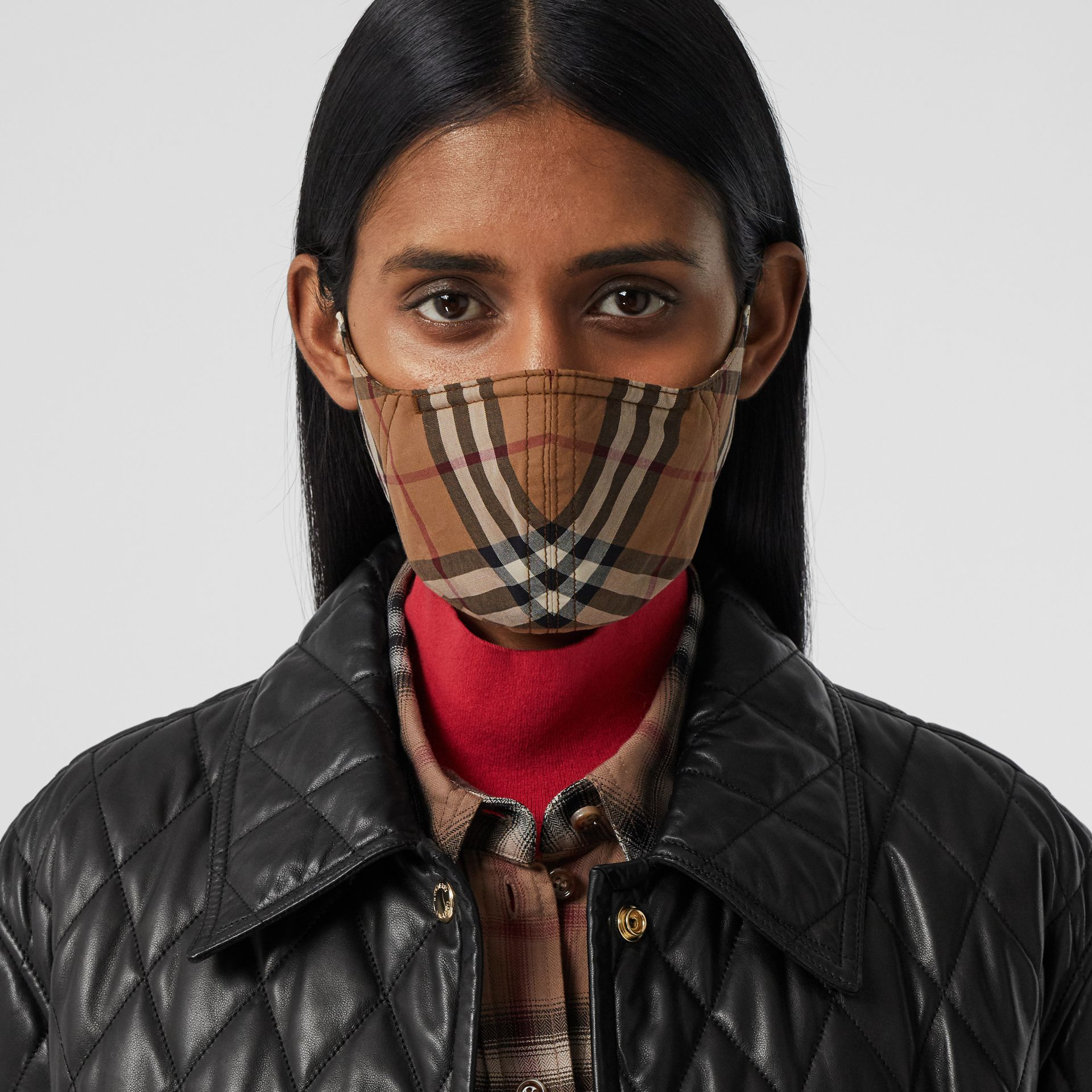 Vintage Check Cotton Face Mask in Birch Brown | Burberry United Kingdom - gallery image 2