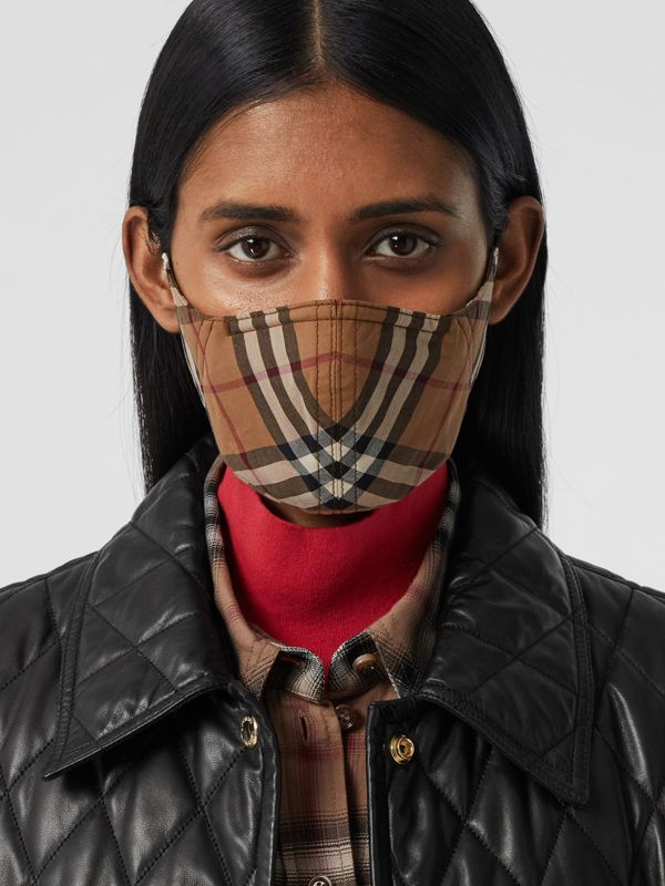 Vintage Check Cotton Face Mask in Birch Brown | Burberry United Kingdom - cell image 2