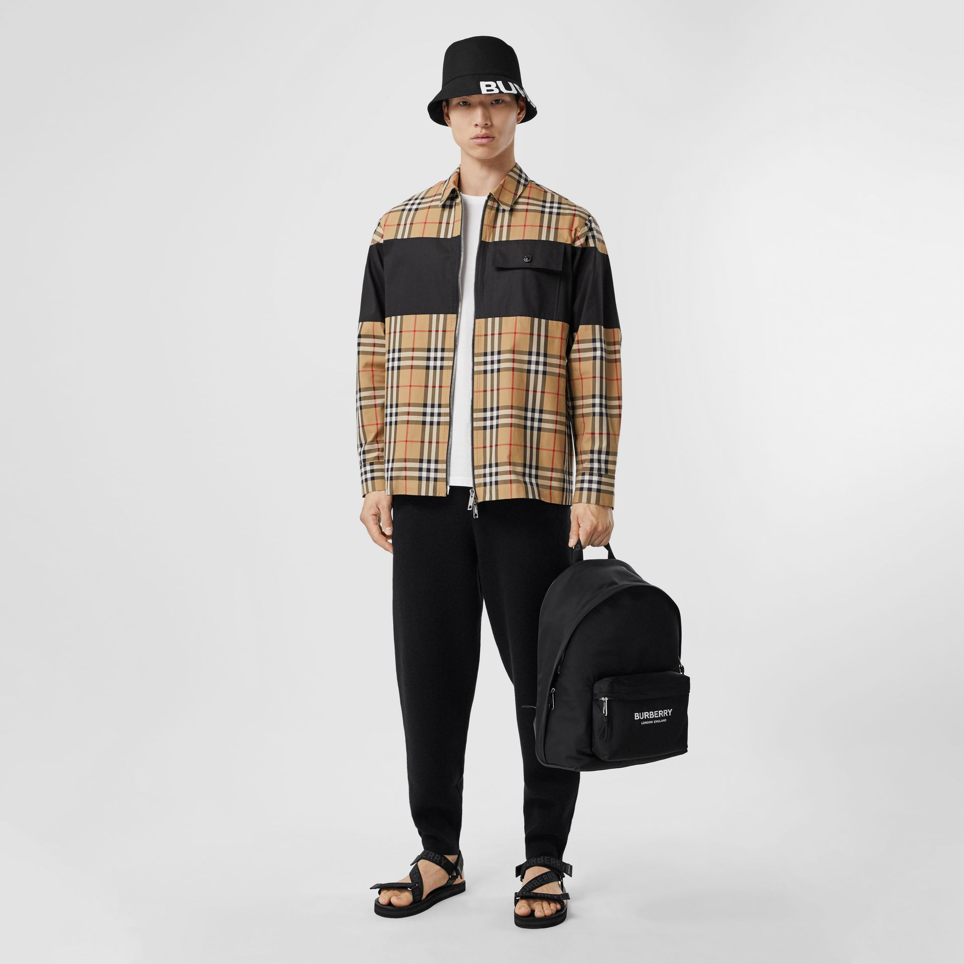 Contrast Panel Check Cotton Shirt in Archive Beige - Men | Burberry Hong Kong S.A.R. - gallery image 2