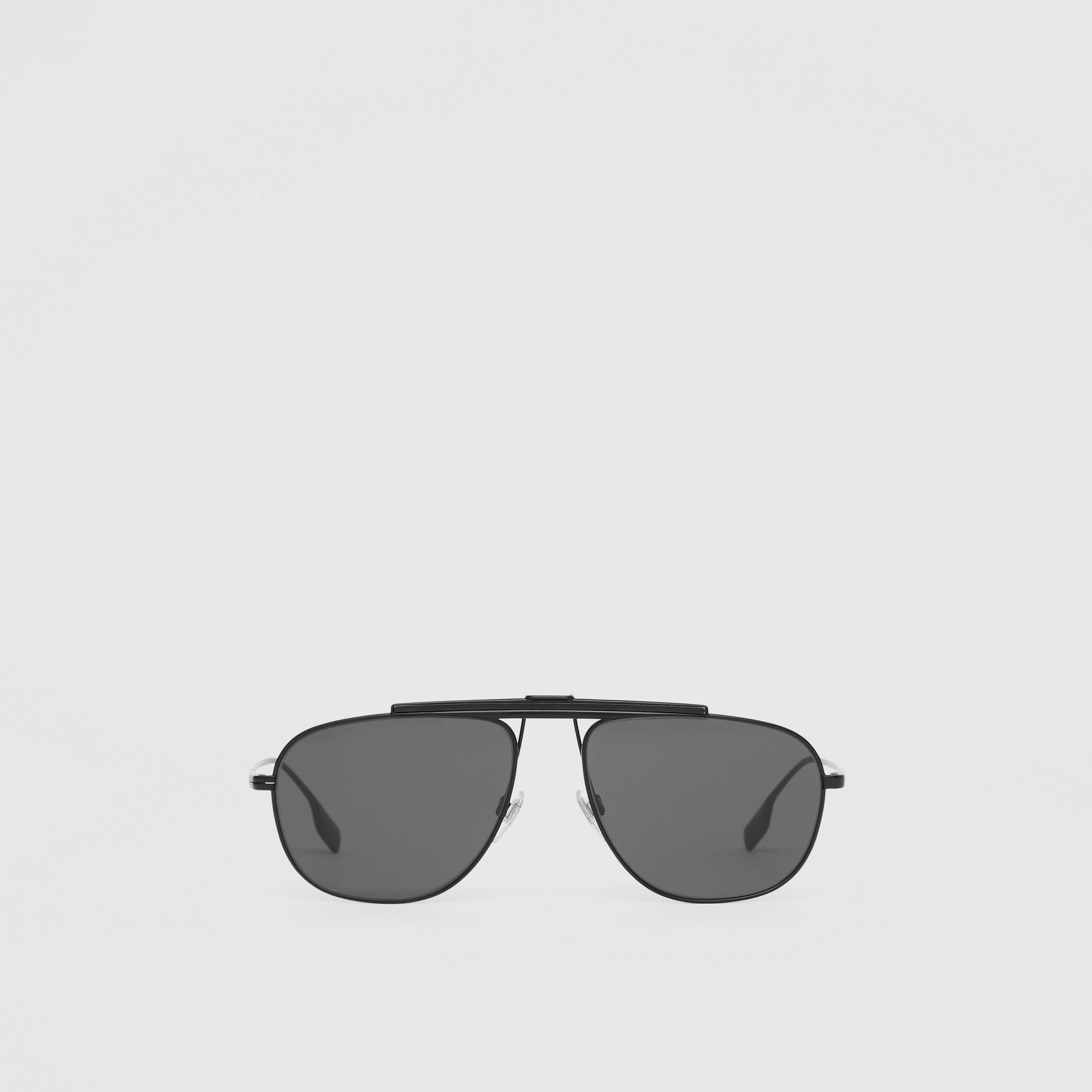 Pilot Sunglasses in Matte Black - Men | Burberry - gallery image 0