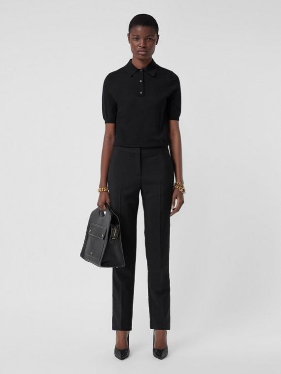 Monogram Motif Wool Silk Cashmere Polo Shirt in Black