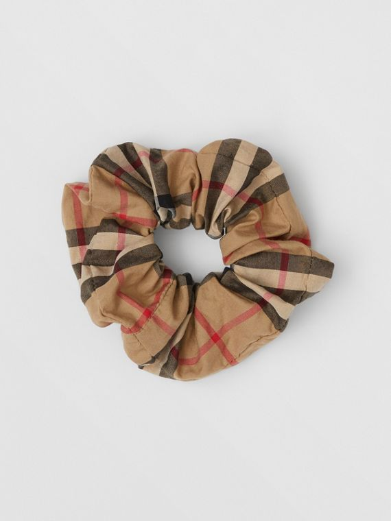 Elástico de cabelo de algodão em Vintage Check (Bege Clássico)