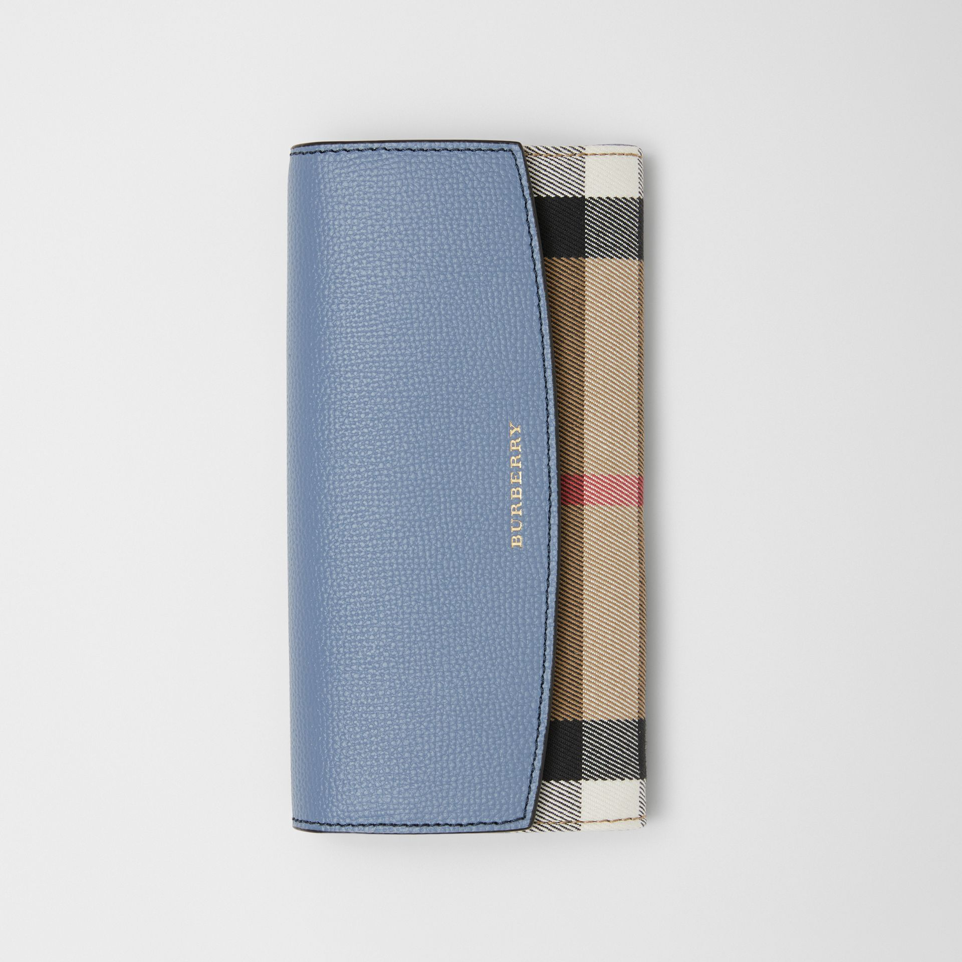 House Check and Leather Continental Wallet in Slate Blue - Women | Burberry - gallery image 2