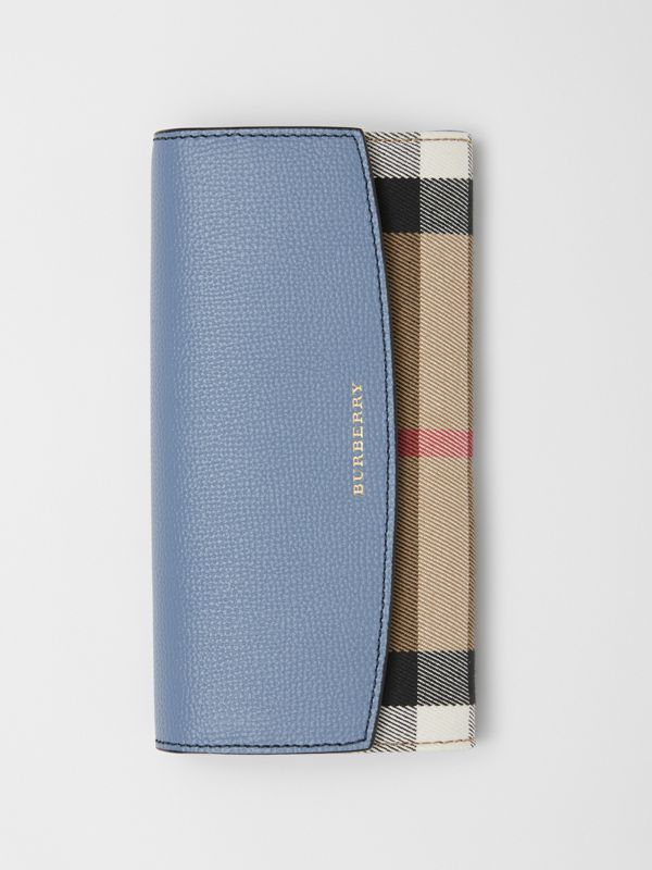 House Check and Leather Continental Wallet in Slate Blue - Women | Burberry - cell image 2