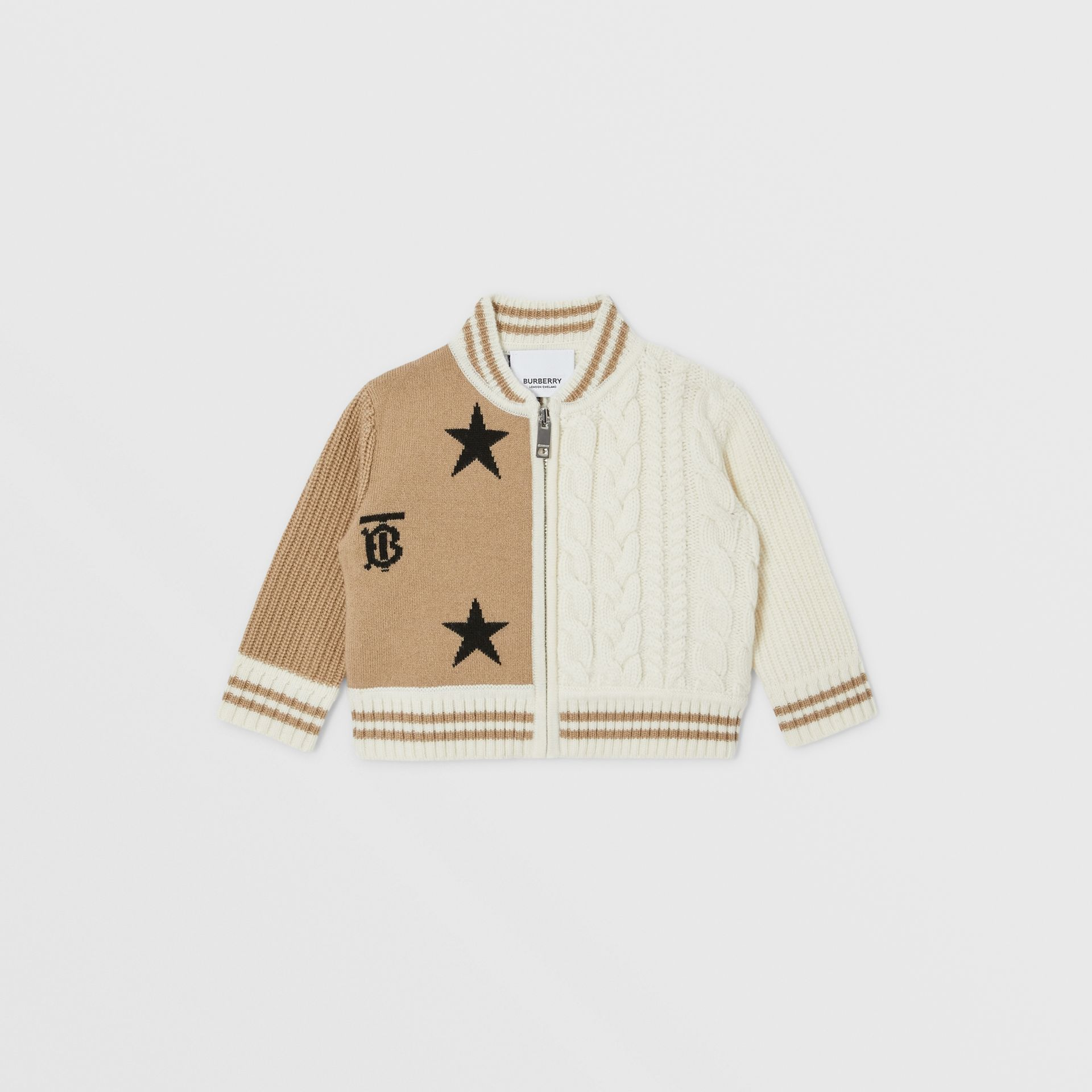 Star and Monogram Motif Wool Cashmere Blend Jacket in Archive Beige - Children | Burberry - gallery image 0