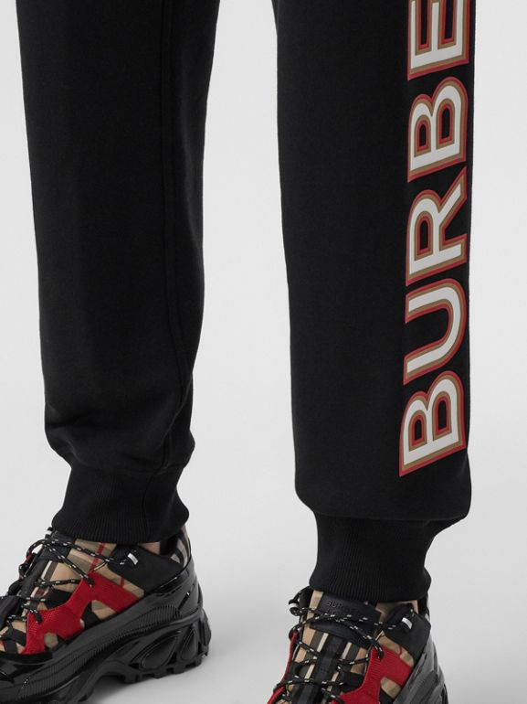 Logo Print Cotton Jogging Pants in Black - Women | Burberry - cell image 1