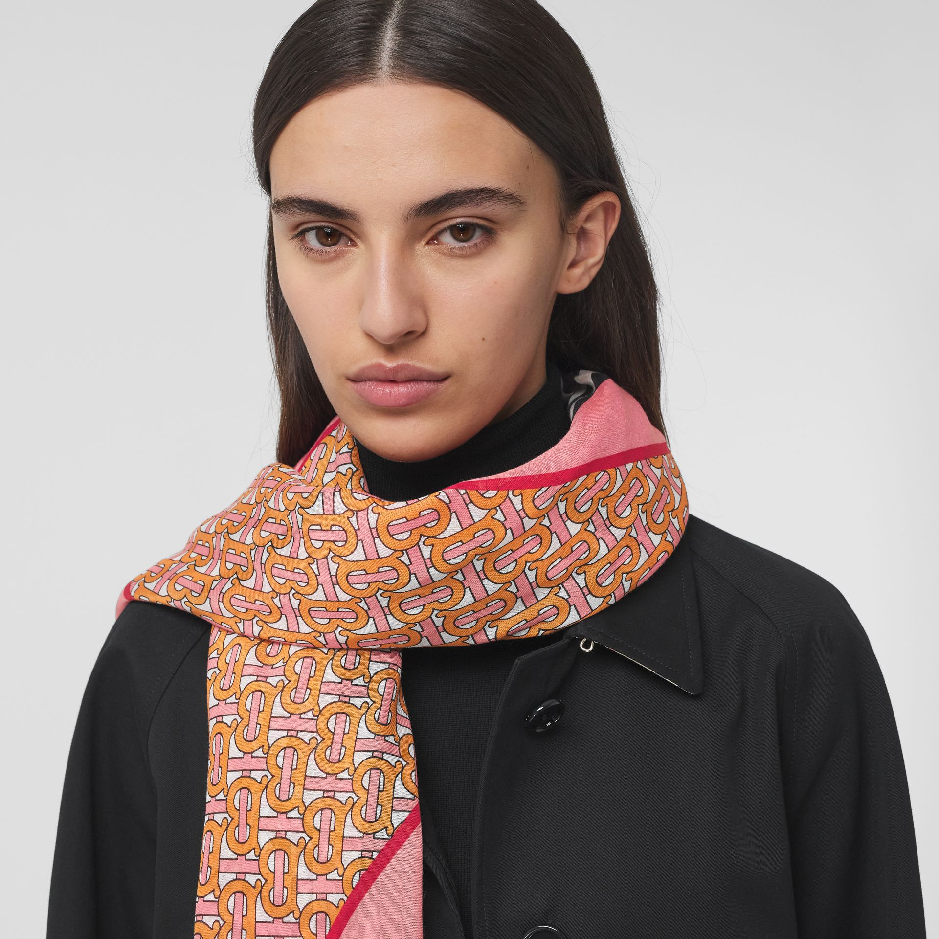 Icon Stripe Monogram Print Wool Silk Square Large Scarf in Camellia Pink | Burberry - gallery image 2