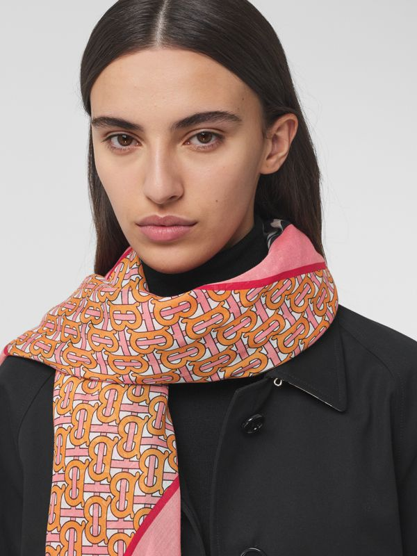 Icon Stripe Monogram Print Wool Silk Square Large Scarf in Camellia Pink | Burberry - cell image 2