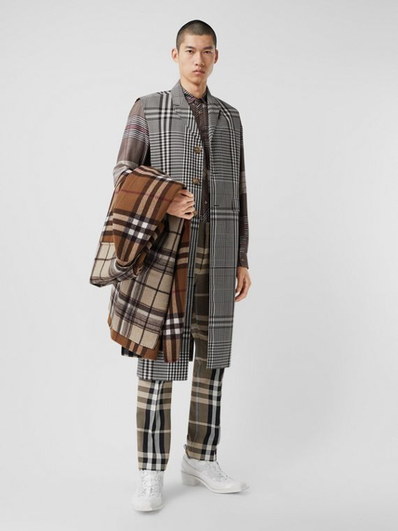 Sleeveless Check Technical Wool Coat in Dark Brown