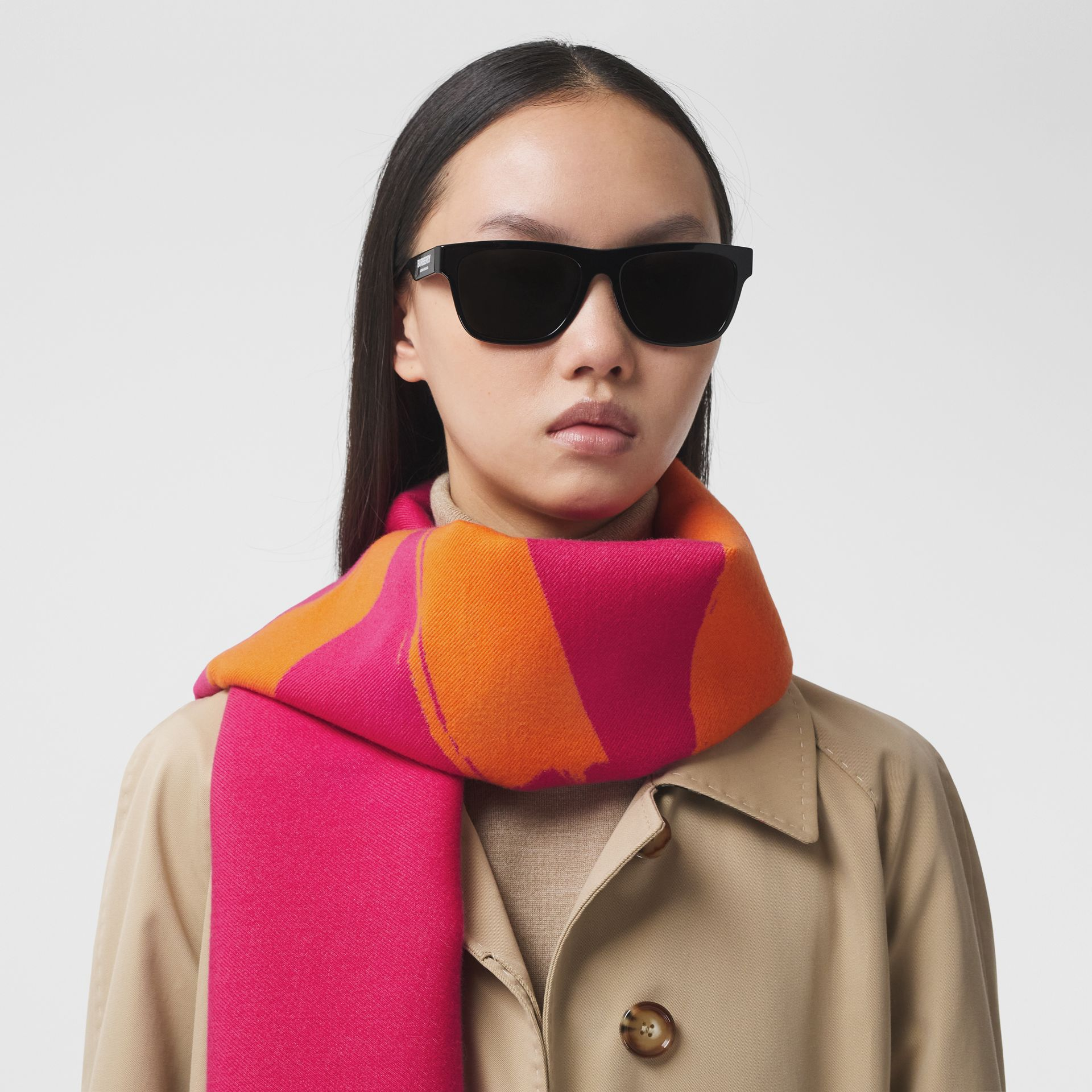 Love and Logo Wool Silk Jacquard Scarf in Orange | Burberry - gallery image 2