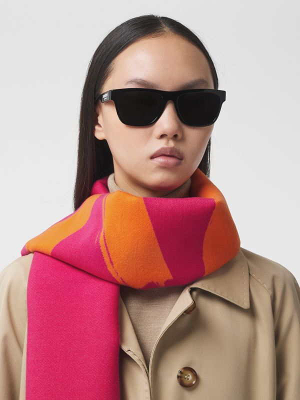 Love and Logo Wool Silk Jacquard Scarf in Orange | Burberry - cell image 2