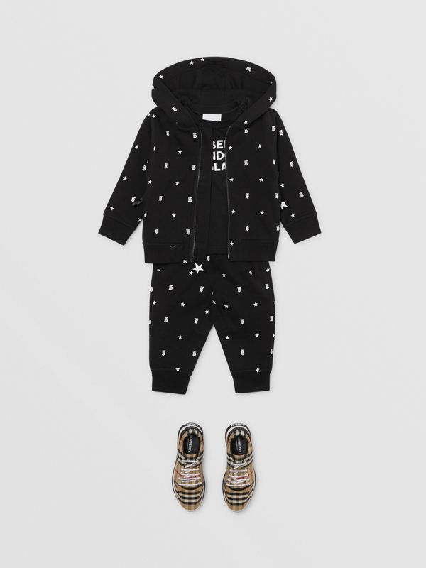 Star and Monogram Motif Cotton Hooded Top in Black - Children | Burberry - cell image 3