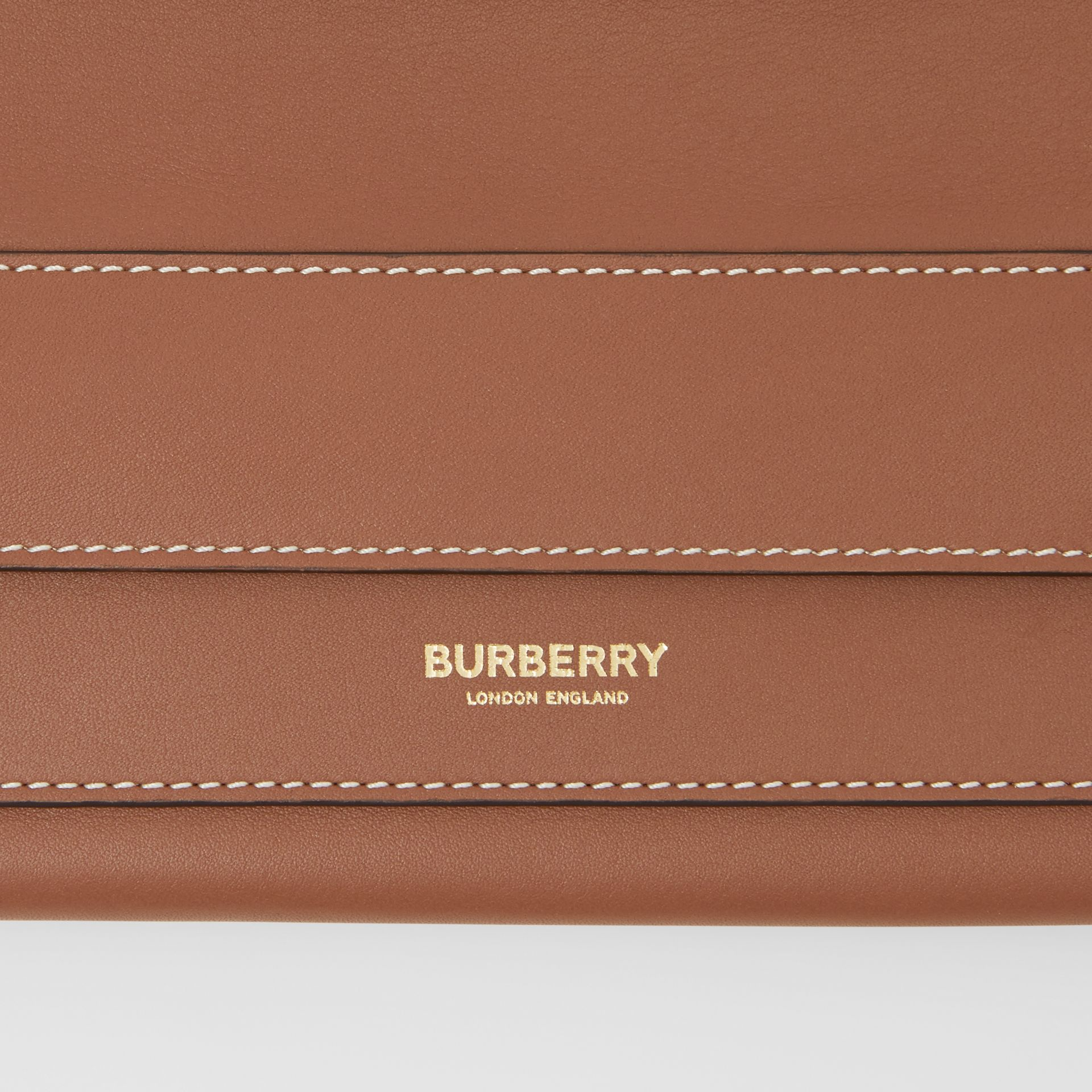 Mini Topstitched Lambskin Pocket Clutch in Malt Brown - Women | Burberry - gallery image 1