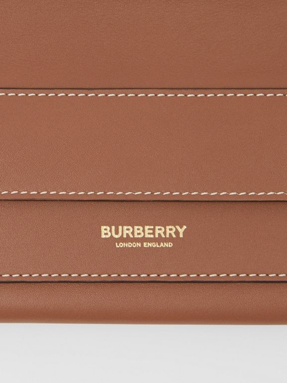 Mini Topstitched Lambskin Pocket Clutch in Malt Brown - Women | Burberry - cell image 1