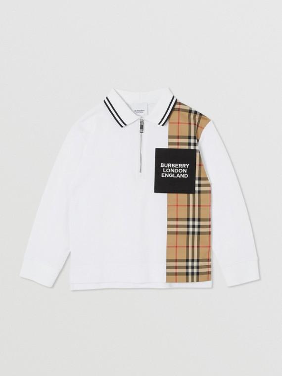 Camisa polo de algodão com mangas longas e recorte em Vintage Check (Branco)