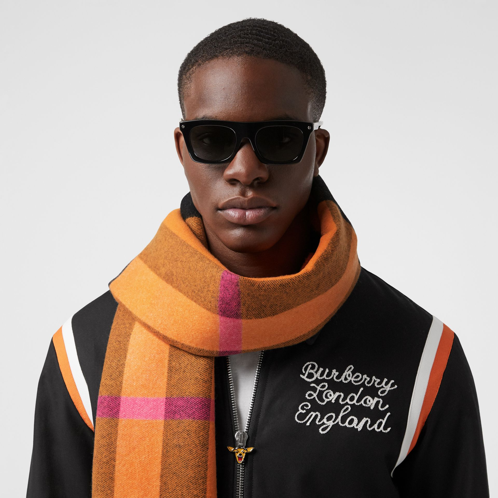 Reversible Check and Logo Cashmere Scarf in Orange | Burberry - gallery image 3